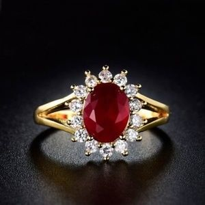 Jewelry - 18kt Gold Filled Red Garnet Ring